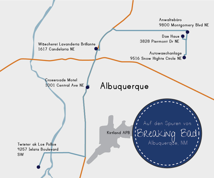 Die Breaking Bad Route durch Albuquerque. DieFernwehFamilie
